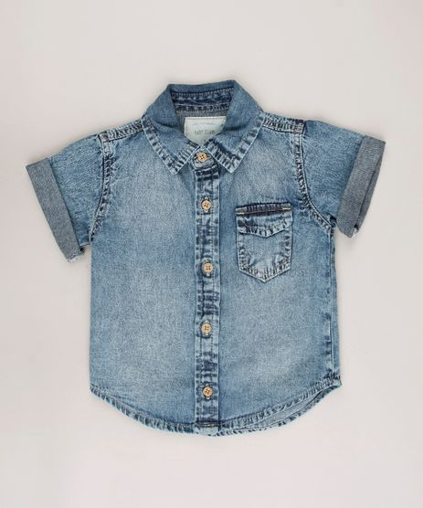 Camisa-Jeans-Infantil-com-Bolso-Manga-Curta-Azul-Medio-9684470-Azul_Medio_1