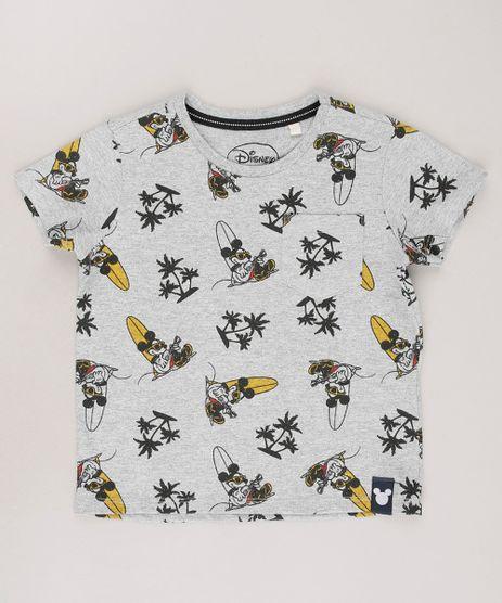 Camiseta-Infantil-Mickey-Estampada-Tropical-com-Bolso-Manga-Curta-Cinza-Mescla-9674530-Cinza_Mescla_1