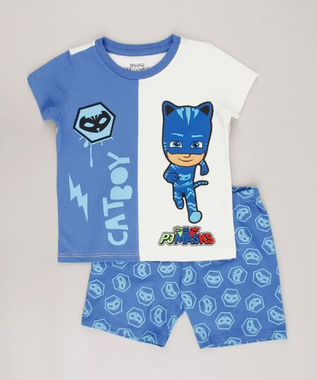 Pijama-Infantil-Pj-Mask-Gato-com-Recorte-Manga-Curta-Off-White-9633463-Off_White_1