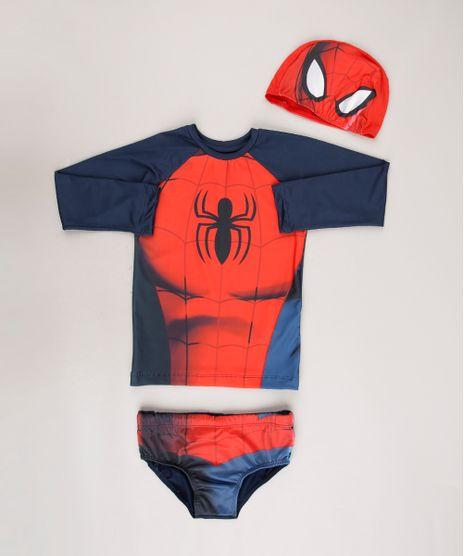 Conjunto-de-Camiseta-de-Praia-Infantil-Homem-Aranha---Touca---Sunga-Azul-Marinho-9667868-Azul_Marinho_1