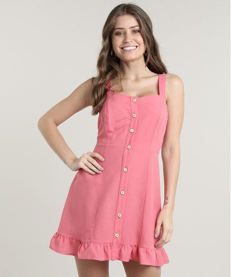 Vestido-Feminino-Curto-com-Linho-e-Botoes-Alca-Media-Rosa-Escuro-9670979-Rosa_Escuro_1
