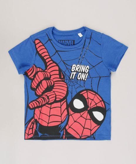Camiseta-Infantil-Homem-Aranha--Bring-It-On--Manga-Curta-Azul-9722349-Azul_1