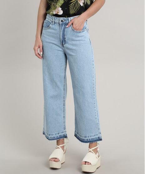 Calca-Jeans-Feminina-Pantacourt-com-Bolsos-Azul-Claro-9695000-Azul_Claro_1