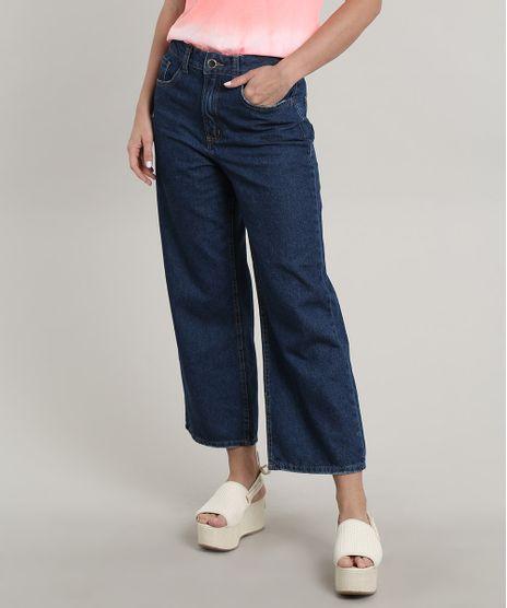 Calca-Jeans-Feminina-Pantacourt-com-Bolsos-Azul-Escuro-9695001-Azul_Escuro_1
