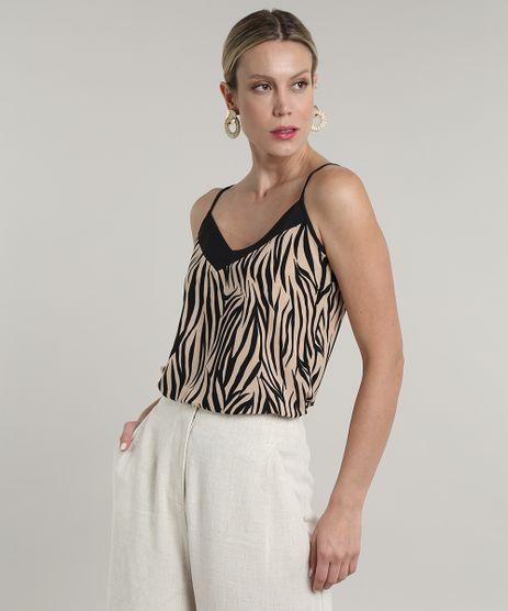 Regata-Feminina-Estampada-Animal-Print-Zebra-Decote-V-Bege-9697624-Bege_1