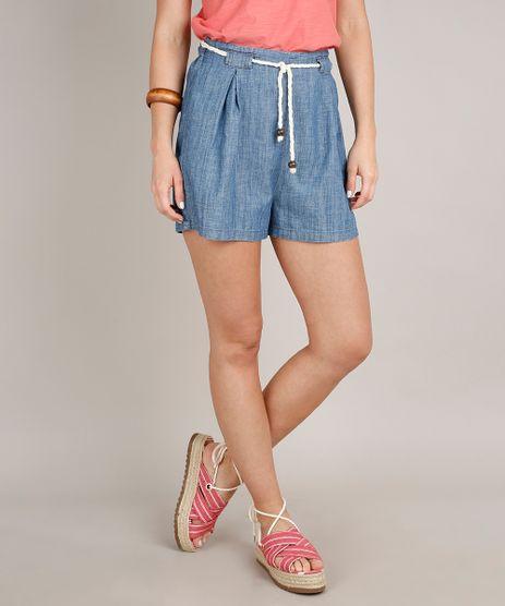 Short-Jeans-Feminino-com-Pregas-e-Cordao-Azul-Medio-9753902-Azul_Medio_1