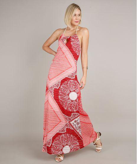 Vestido-Feminino-Longo-Frente-Unica-Estampado-de-Bandana-com-Corda-Vermelho-9700076-Vermelho_1