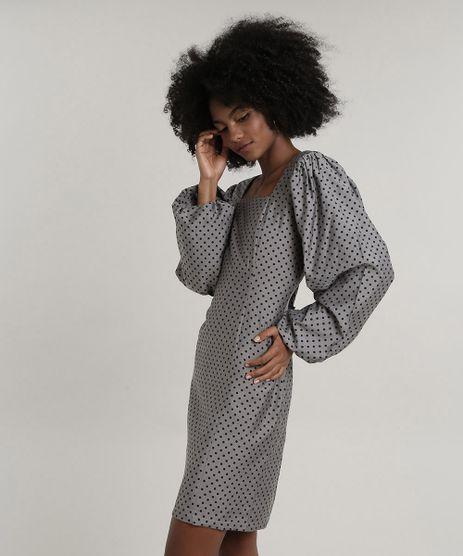 Vestido-Feminino-Mindset-Curto-Estampado-de-Poa-Manga-Bufante-Chumbo-9830520-Chumbo_1
