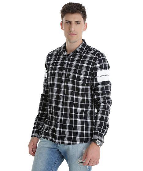 Camisa-Xadrez--Stop-Following-Me--Preta-8448691- ... dfeb8986b4895