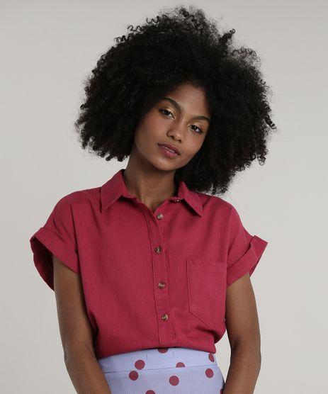Camisa-Feminina-Mindset-com-Bolso-Manga-Curta-Vinho-9818112-Vinho_1