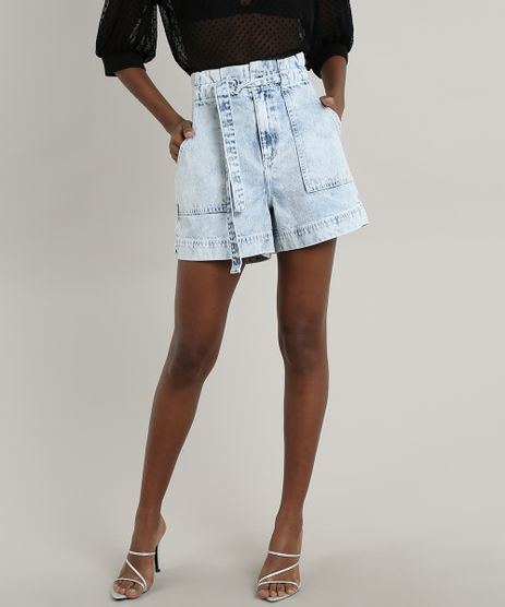 Short-Jeans-Feminino-Mindset-Clochard-com-Faixa-para-Amarrar-Azul-Claro-9823104-Azul_Claro_1