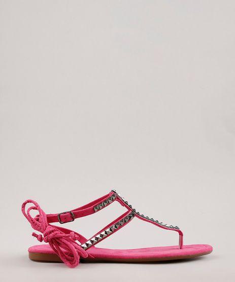 Rasteira-Feminina-Oneself-em-Suede-com-Tachas-e-Amarracao-Pink-9718707-Pink_1