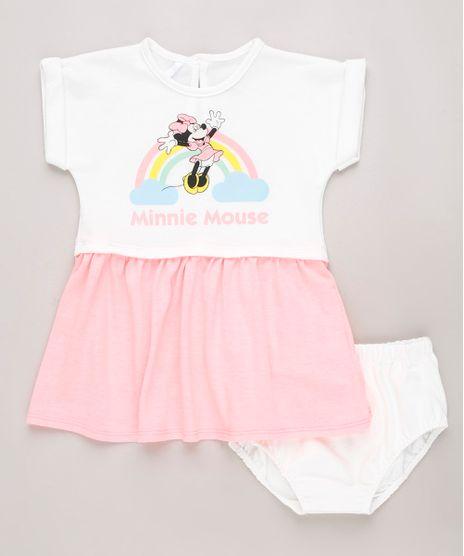 Vestido-Infantil-Minnie-Mouse-Neon-em-Moletom-Manga-Curta---Calcinha-Branco-9703054-Branco_1