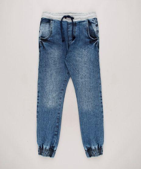 Calca-Jeans-Infantil-Jogger-com-Cordao-Azul-Medio-9658614-Azul_Medio_1