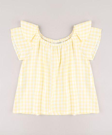 Blusa-Infantil-Estampada-Xadrez-Vichy-com-Babado-Manga-Curta-Amarela-9682740-Amarelo_1