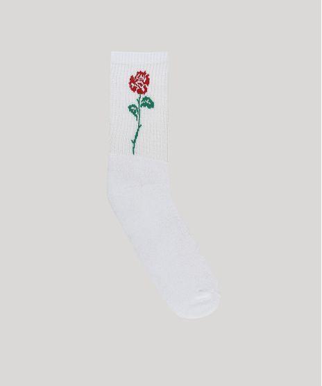Meia-Masculina-Cano-Alto-com-Estampa-de-Rosa-Branca-9636364-Branco_1