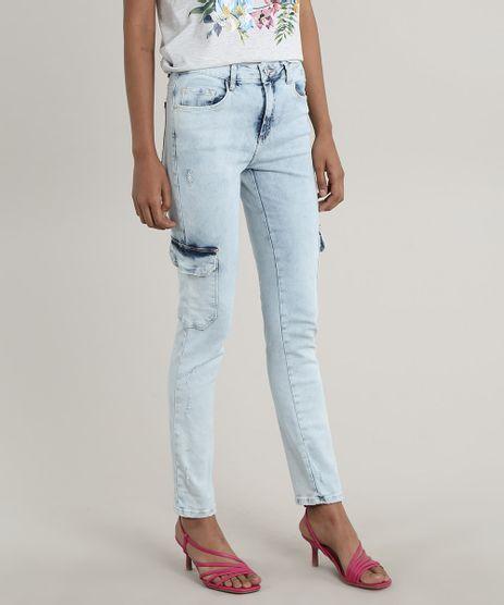 Calca-Jeans-Feminina-Skinny-Cargo-com-Puidos-Azul-Claro-9756063-Azul_Claro_1