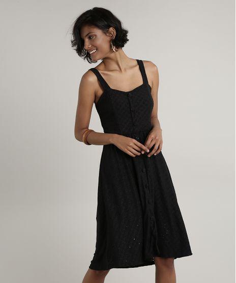 Vestido-Feminino-Midi-em-Laise-com-Botoes-Alca-Media-Preto-9697080-Preto_1