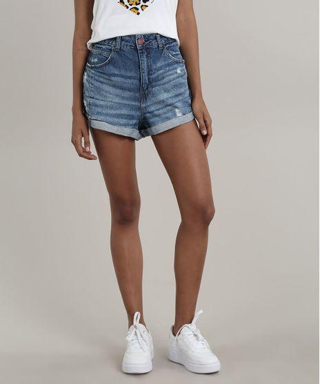 Short-Jeans-Feminino-Mom-com-Rasgos-Barra-Dobrada-Azul-Medio-9751066-Azul_Medio_1