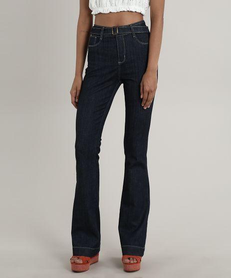 Calca-Jeans-Feminina-Sawary-Flare-com-Cinto-Azul-Escuro-9748511-Azul_Escuro_1