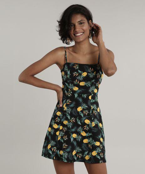 Vestido-Feminino-Curto-Estampado-de-Abacaxi-Alca-Fina-Preto-9706294-Preto_1