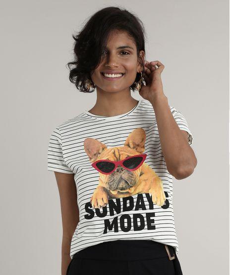 Blusa-Feminina-Listrada--Sundays-Mode--Cachorro-Manga-Curta-Decote-Redondo-Off-White-9656269-Off_White_1