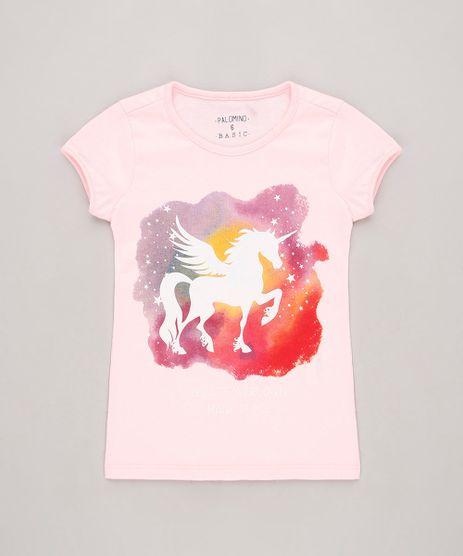 Blusa-Infantil-Unicornio-com-Glitter-Manga-Curta-Rosa-Claro-9756288-Rosa_Claro_1