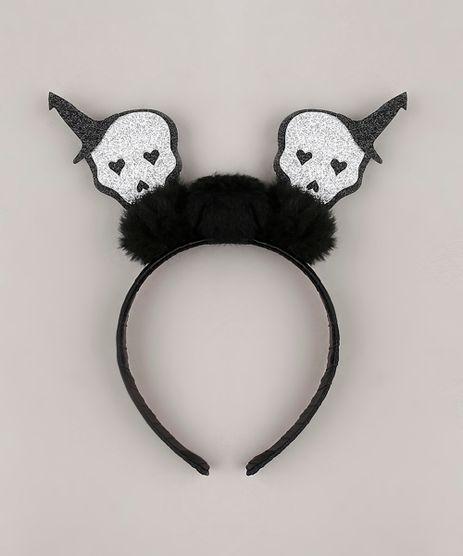 Tiara-Feminina-Halloween-Caveiras-com-Glitter-e-Pompom-Preta-9752860-Preto_1