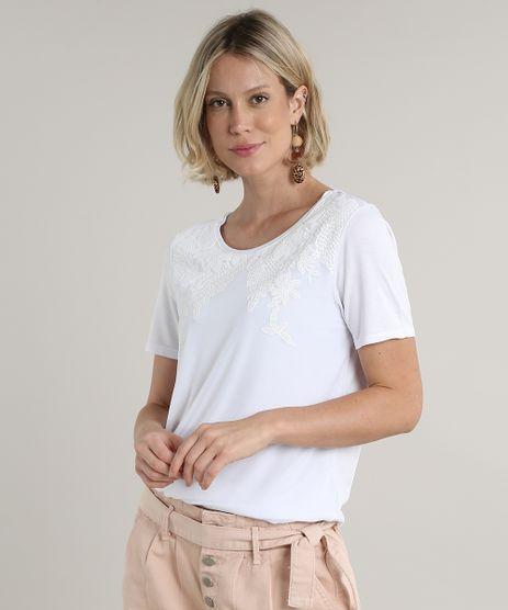 Blusa-Feminina-com-Estampa-Floral-e-Tule-Manga-Curta-Decote-Redondo-Branca-9742312-Branco_1