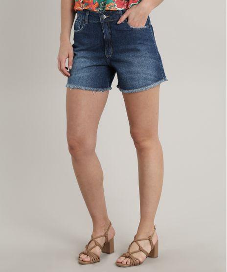 Bermuda-Jeans-Feminina-com-Barra-Desfiada-Azul-Escuro-9756600-Azul_Escuro_1