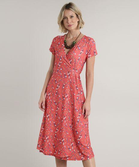 Vestido-Feminino-Midi-Envelope-Estampado-Floral-Manga-Curta-Coral-9715590-Coral_1