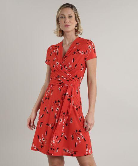 Vestido-Feminino-Curto-Transpassado-Estampado-Floral-Manga-Curta-Vermelho-9693044-Vermelho_1