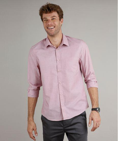Camisa-Masculina-Comfort-Fit-com-Bolso-Manga-Longa-Vinho-8826559-Vinho_1
