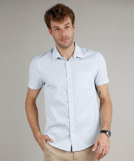 Camisa-Masculina-Comfort-Fit-Estampada-Xadrez-com-Bolso-Manga-Curta-Azul-9508846-Azul_1