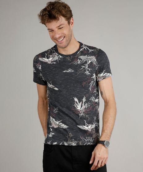 Camiseta-Masculina-Slim-Fit-Estampada-de-Passaros-Manga-Curta-Gola-Careca-Chumbo-9635137-Chumbo_1