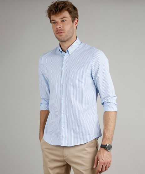 Camisa-Masculina-Comfort-Fit-Listrada-com-Bolso-Manga-Longa-Azul-9515020-Azul_1