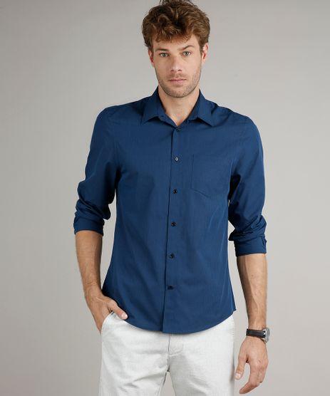 Camisa-Masculina-Comfort-Fit-Listrada-com-Bolso-Manga-Longa-Azul-Marinho-9627765-Azul_Marinho_1