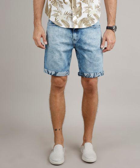 Bermuda-Jeans-Masculina-Slim-com-Barra-Dobrada-Estampada-Azul-Claro-9665847-Azul_Claro_1
