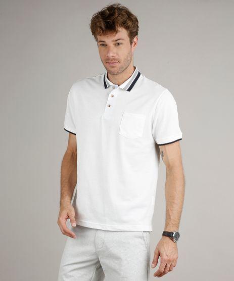 Polo-Masculina-em-Piquet-Comfort-Fit-com-Bolso-Manga-Curta-Off-White-9634293-Off_White_1