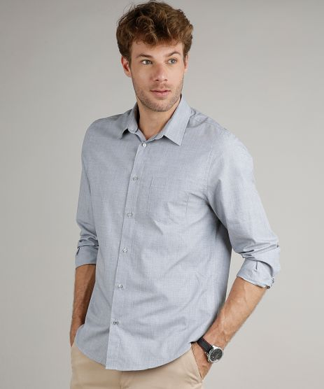 Camisa-Masculina-Comfort-Fit-com-Bolso-Manga-Longa-Cinza-8826559-Cinza_1