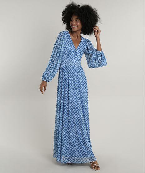 Vestido-Feminino-Mindset-Longo-Estampado-Floral-em-Tule-Manga-Bufante-Azul-9803339-Azul_1