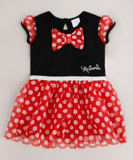 Vestido-Infantil-Minnie-com-Tule-Estampado-Manga-Curta-Preto-9268909-Preto_1_1