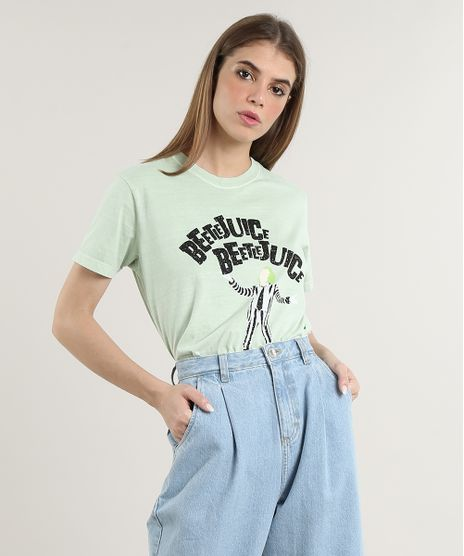 T-Shirt-Feminina-Mindset-Beetlejuice-Manga-Curta-Decote-Redondo-Verde-Claro-9818423-Verde_Claro_1