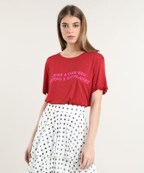 T-Shirt-Feminina-Mindset--Just-a-Cool-Kid--Manga-Curta-Decote-Redondo-Vermelha-9825714-Vermelho_1