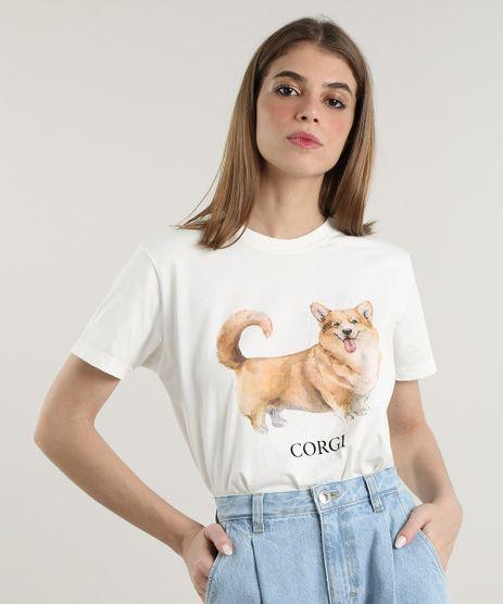 T-Shirt-Feminina-Mindset-Cachorro-Corgi-Manga-Curta-Decote-Redondo-Off-White-9818421-Off_White_1