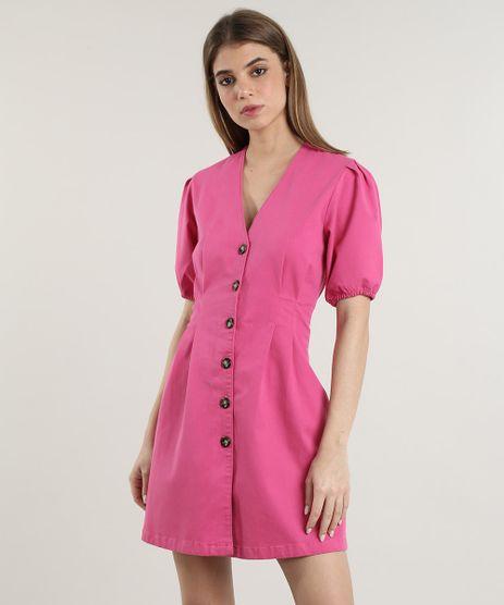 Vestido-Feminino-Mindset-Curto-com-Botoes-Manga-Bufante-Pink-9823105-Pink_1