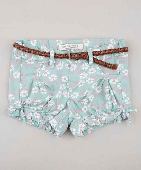 Short-Infantil-Estampado-Floral-com-Cinto-Verde-Claro-9567757-Verde_Claro_1