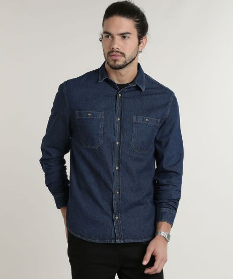 Camisa-Jeans-Masculina-Tradicional-com-Bolsos-Manga-Longa-Azul-Escuro-9588238-Azul_Escuro_1