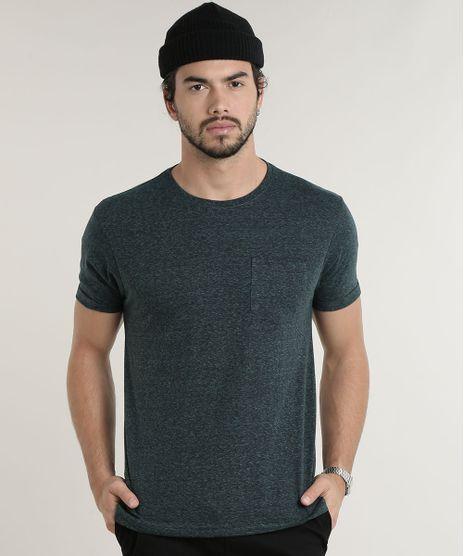 Camiseta-Masculina-Basica-com-Bolso-Manga-Curta-Gola-Careca-Verde-9759600-Verde_1