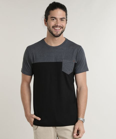 Camiseta-Masculina-com-Bolso-e-Recorte-Manga-Curta-Gola-Careca-Preta-9764800-Preto_1